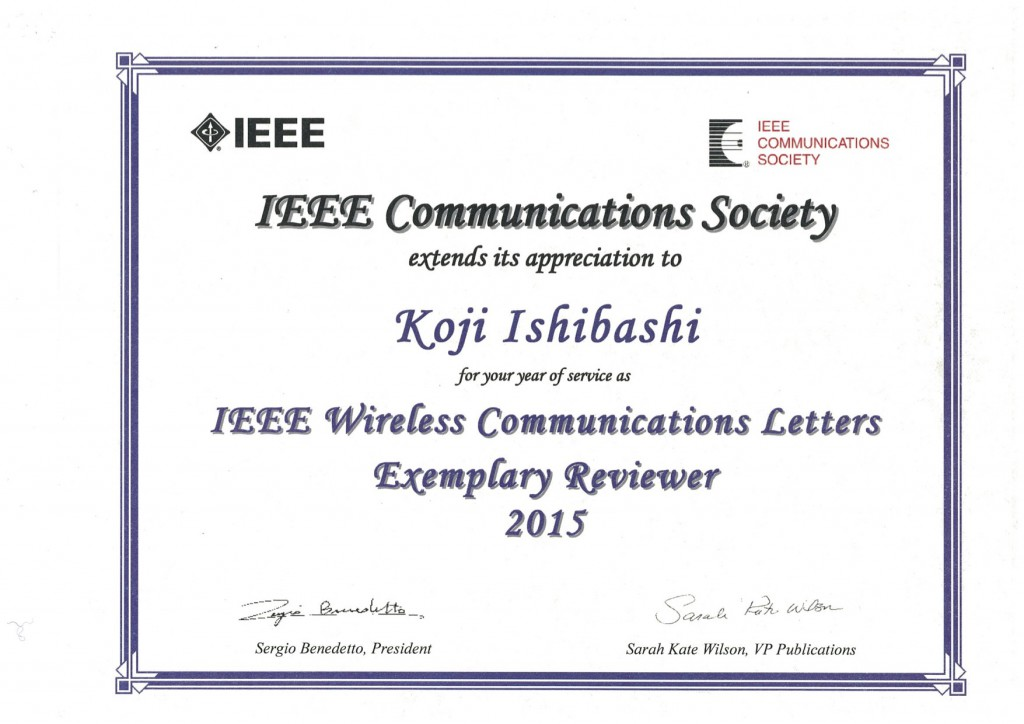 IEEE WCL Exemplary Reviewer | Distributed Wireless Systems